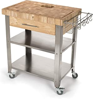 Chris & Chris JET018 Rolling Kitchen Island-Portable Food Prep Table with Durable Cutting Surface, Juice Groove & Collection Pan-Includes Storage Drawer, Spice Rack, 2 Stainless Steel Shelves, Natural