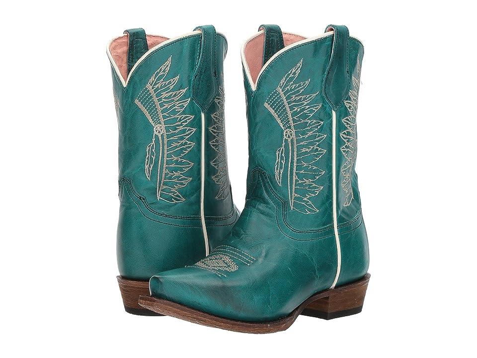 Roper Kids Chiefs (Toddler/Little Kid) (Turquoise Vamp/Headdress Embossed Shaft) Cowboy Boots