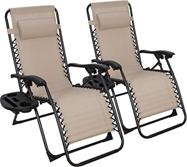ZENY Zero Gravity Lounge Chairs Set of 2 Adjustable Folding Recliners with Cup Holders and Headrest for Patio, Pool Deck Beac