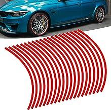 "برچسب Xotic Tech 20x Red Reflective Wheel Hub Rrip Stripe Tape Sticker Universal Fits Car Motorcycle Wheel 14 ""-20"""