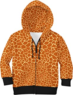 Rainbow Rules Giraffe Print Kids Zip Up Hoodie Unisex