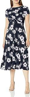 Jessica Howard womens Short Sleeve Twist Waist Midi Dress Casual Dress