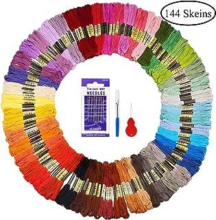 comprar comparacion Madejas de Hilos 144 Madejas 48 Colores Fuyit Hilos de Bordar de Algodón Bordado Kit de Hilos Cross Stitch Bordado Hilos