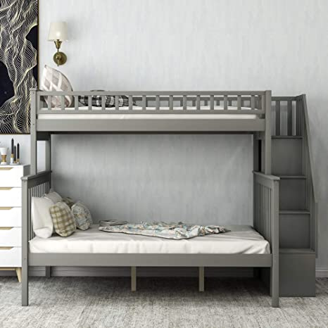 Amazon Com Twin Over Full Bunk Bed For Kids Loft System Twin Full Bed Set With Storage And Stair Loft Dark Grey Kitchen Dining