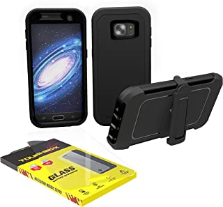 Galaxy S7 Edge Case, ToughBox [Armor Glass Series] [Shockproof] [Black] for Samsung Galaxy S7 Edge Case [Tempered Glass Screen Protector] [Holster & Belt Clip] [Fits OtterBox Defender Series Clip]
