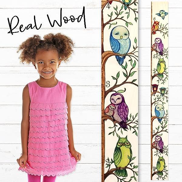 Growth Chart Art Owl Growth Chart Ruler Wood Height Ruler For Kids Boys Girls Kids Growth Chart Wood Measuring Kids Height Wall D Cor