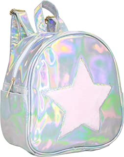 Silver Iridescent and Faux Fur Pink Star Backpack