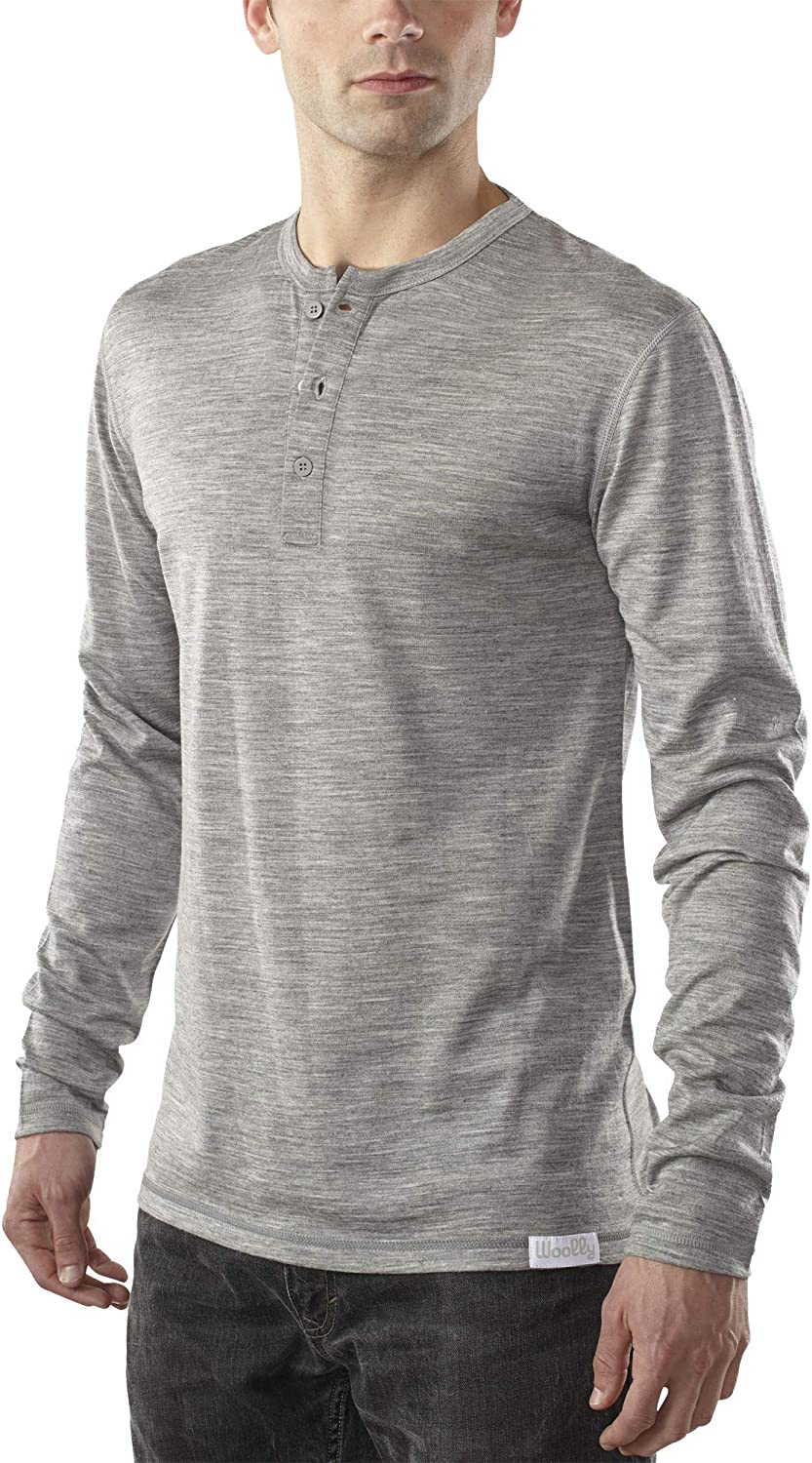 Woolly Clothing Max In a popularity 90% OFF Men's Merino Wool - Henley Everyday Long Sleeve