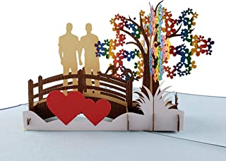 iGifts And Cards Awesome Gay Couple True Love 3D Pop Up Greeting Card - Wedding, Marriage, Engagement, Anniversary, Half-Fold, Romantic, Pride, Lovers, Men, Grooms, Husbands, LGBT, Rainbow, Happy