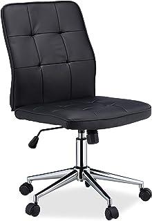 Relaxdays Oficina Regulable en Altura, ergonómica, Ruedas, Resorte de Gas, Piel sintética, 100 kg, Silla de Escritorio, Color Negro, 1 Unidad