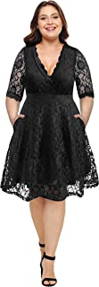 Women Plus Size Lace V Neck Short Formal Wedding Party Cocktail Dress with Pockets