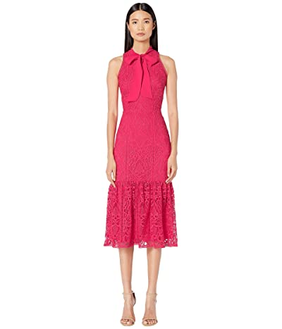 ML Monique Lhuillier Raspberry Lace Halter Dress with Ribbon (Raspberry Multi) Women