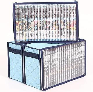 アストロ コミック 収納ケース 3個組 少年 少女 漫画 新書判 B40判 B6判 小B6判 ライトブルー 吸湿 防ダニ 不織布 透明窓 持ち手付き 616-25