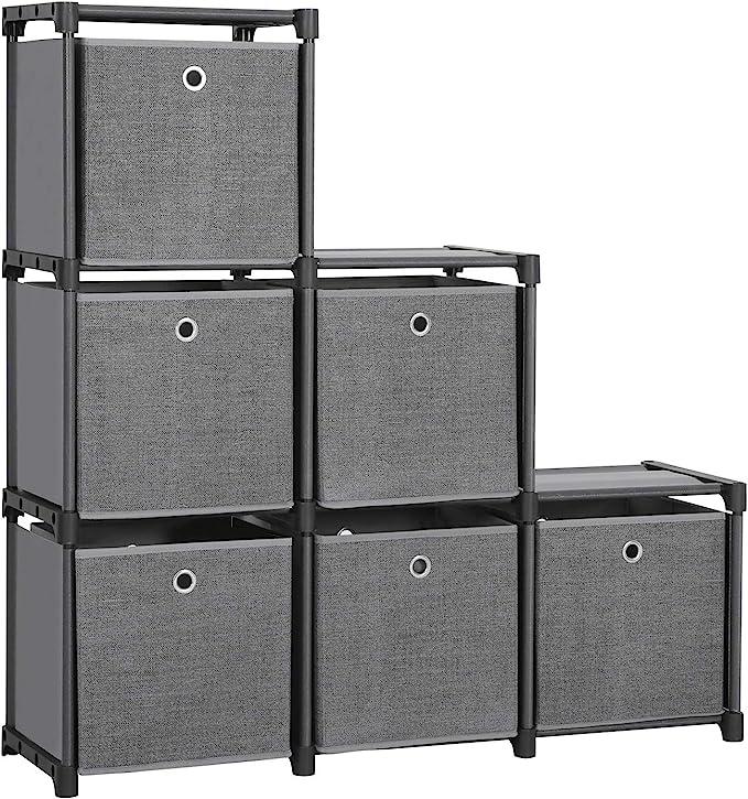 1105 opinioni per SONGMICS LSN66BK- Scaffalatura a 6 cubi con 6 scatole in tessuto, multiuso, con