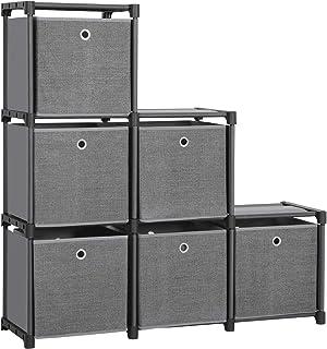 Songmics LSN66BK Étagère à emboîter 6 Cubes Système de Rangement avec 6 boîtes en Tissu DIY Armoire Multifonction avec Cad...