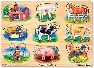 Melissa & Doug Farm Sound Puzzle - Wooden Peg Puzzle With So