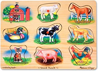 Melissa & Doug Farm Sound Puzzle (Wooden Peg Puzzle With Sound Effects, 8 pieces, Great Gift for Girls and Boys – Best for 2, 3, and 4 Year Olds)