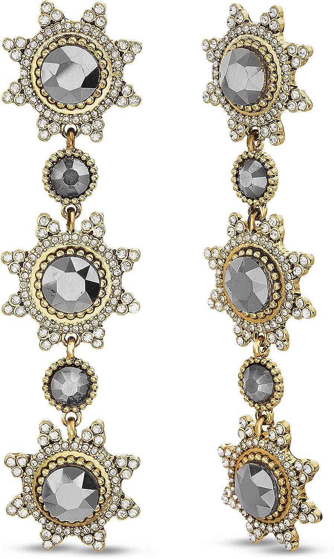 Badgley Mischka Sunburst Rhinestone Yellow Linear Drop Dangle Earrings for Women