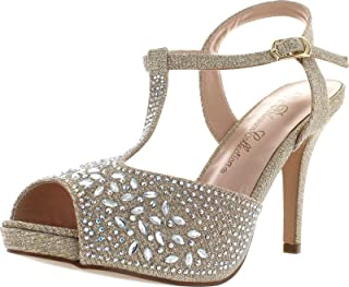De Blossom Collection Womens Robin 187 Stunning T Strap Sparkle Party Dress Sandals