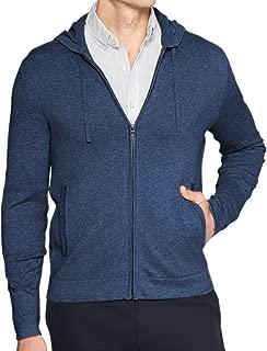 Banana Republic Luxe Cashmere Blend Full Zip Up Hooded Sweatshirt Jacket Navy Blue Heathered