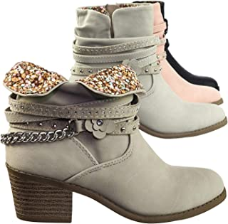 9232c390d381 Aquapillar Children Girl Block Heel Ankle Boots w Chain Belt   Rhinestone