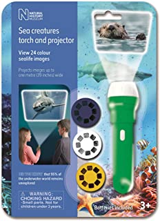 brainstorm N5132 Natural History Museum Torch & Projector, Sea Creatures Green/White
