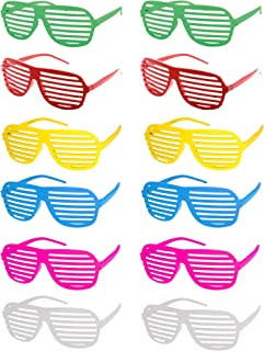 12 Pairs of Plastic Shutter Shades Glasses Shades Sunglasses Eyewear Party Favors and Party Props Assorted Colors (8818-Color Frame Without Lens, Frame Wide: 151 mm/5.9 in.)