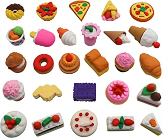 TOAOB 25pcs Erasers Pastry Food Collection Cute Novelty for Birthday Party Supplies Favors School Prizes and Gifts