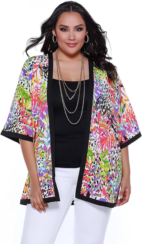 Belldini 3 4 Sleeve Open Kimono with Contrasting Detail