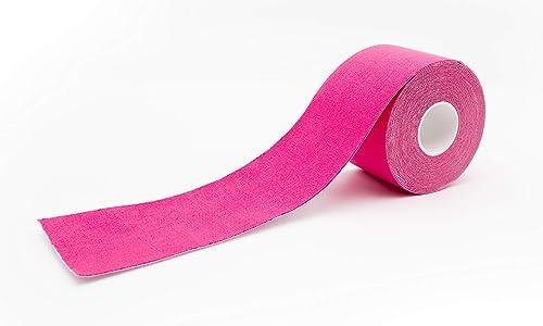 axion - Bande de kinésiologie couleur rose - Bandage médical - Ruban résistant à l'eau - Optimal pour le sport