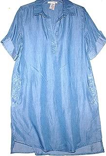 Philosophy Ladies Long Pullover Denim Shirt/Dress Chambray Blue (Multiple Sizes) (Large)