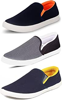 WORLD WEAR FOOTWEAR Men's Combo Pack of 3 Synthetic Loafers Shoes - Multicolour