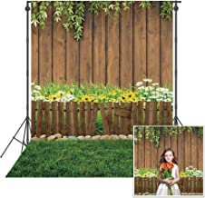 Sponsored Ad - Msocio 5x7ft Durable Polyester Spring Garden Photography Backdrop Greenery Grass Nature Wood Background for...