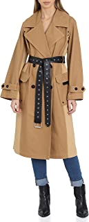 Women's Belted Cotton Mid Length Trench Coat with Color Block Panels