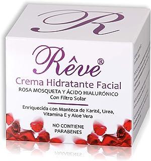 REVE Crema Hidratante Facial con Rosa Mosqueta - Vitamina E - Ácido Hialurónico - FPS15 - Regeneradora Celular - Hombre y ...