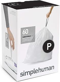 simplehuman Code P Custom Fit Drawstring Bags سطل زباله ، 50-60 لیتر / 13-16 گالن ، سفید ، 60 تعداد
