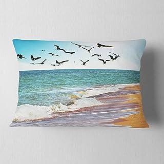 "Designart Sea Gulls Seashore Throw Lumbar Cushion Pillow Cover for Living Room, Sofa 12"" x 20"""