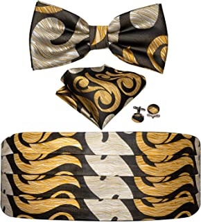 Barry.Wang Men Cummerbund and Bow Tie Set with Pocket Square Cufflinks Formal Satin Belt