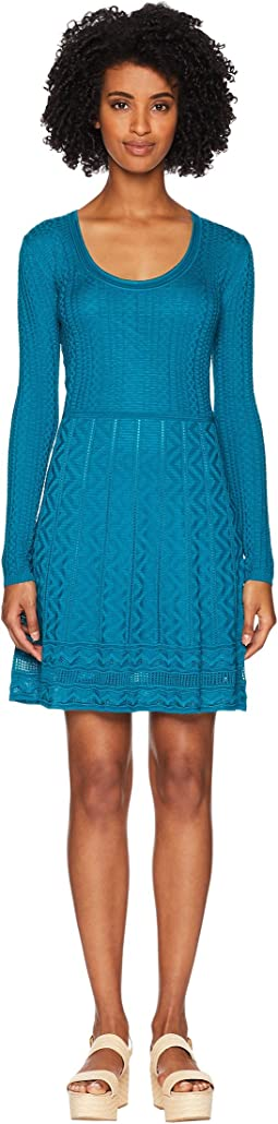 Solid Knit Scoop Neck Long Sleeve Dress