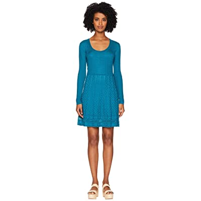 M Missoni Solid Knit Scoop Neck Long Sleeve Dress (Teal) Women