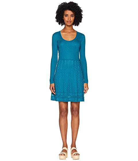 M Missoni Solid Knit Scoop Neck Long Sleeve Dress