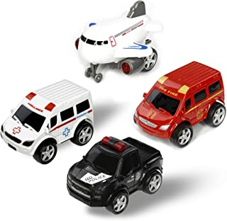 Deceny CB Play Car Toys for Toddlers Friction Powered Cars Push and Go Car Toy Car Play Set of 4