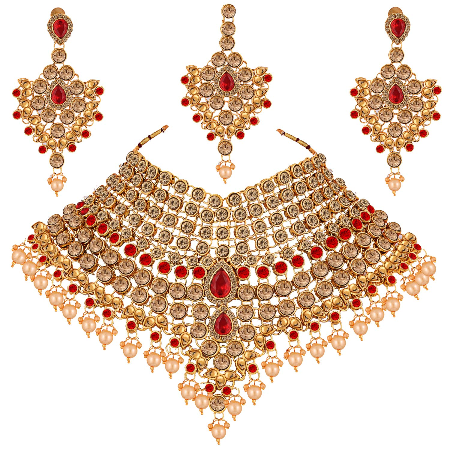 Lucky Jewellery LCT Red Bridal Dulhan Wedding & Engagement Necklace Set  with Mang Tikka Best for Bride Gold Red in Color 20 L20SS KD2024 LCT RED