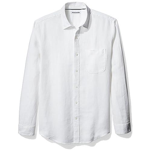 b2e7e19fbef Amazon Essentials Men s Regular-Fit Long-Sleeve Linen Shirt