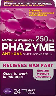 Phazyme Maximum-Strength Gas and Bloating Relief    250 mg Simethicone   24 FAST GELS
