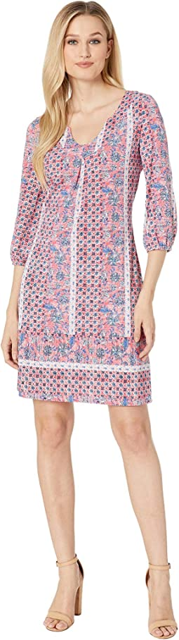 3/4 Sleeve Printed Jersey Notch Collar Dress