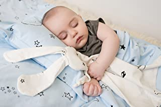 Gootoosh Baby Bunny Security Blanket: Cuddly Organic Cotton Lovey with Stars or Candies or Origami Print, 4 Colors
