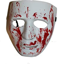 Full Face Sturdy Plastic Bloody Mask, Purge Costume Party Dance Crew for Hip Hop Dance/Opera White