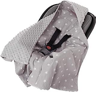 Einschlagdecke 100% Baumwolle 85x85cm Kuscheldecke für Kinderwagen Babyschale universal baby Decke doppelseitig Babydecke Buggy Autositz weiße Sterne mit grauen Minky