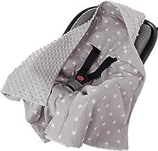 Einschlagdecke 100% Baumwolle 85x85cm doppelseitig multifunktional Minky Kuscheldecke für Kinderwagen weich flauschig weiße Sterne mit grauem Minky